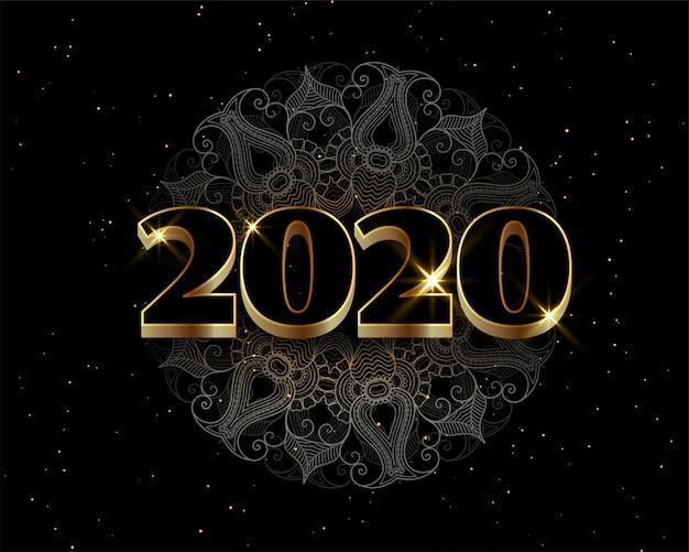 Felice anno nuovo nero e dorato stile lussuoso sfondo Vettore gratuito