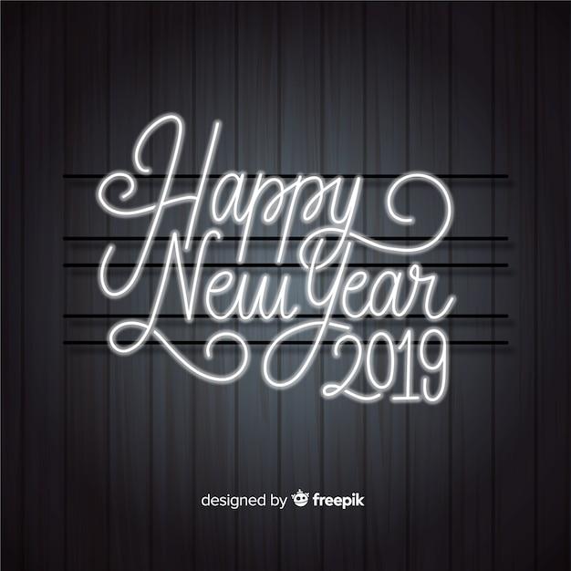 Felice Anno Nuovo Sfondo 2019 Con Scritte Al Neon Luci Vettore