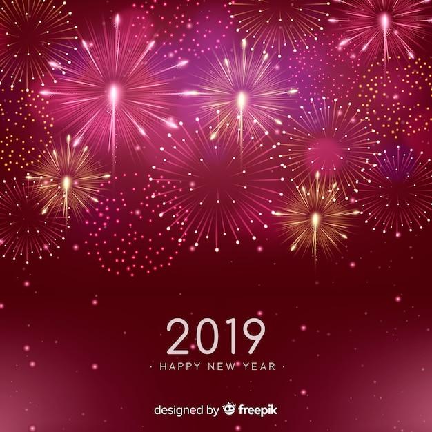 Felice anno nuovo sfondo 2019 Vettore gratuito