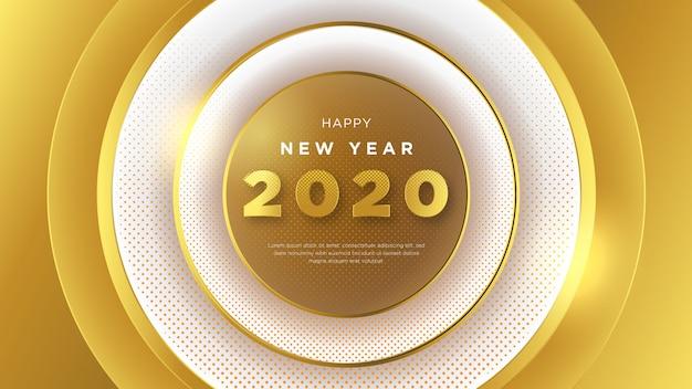 Felice anno nuovo sfondo, con fantasia design e 3d Vettore Premium