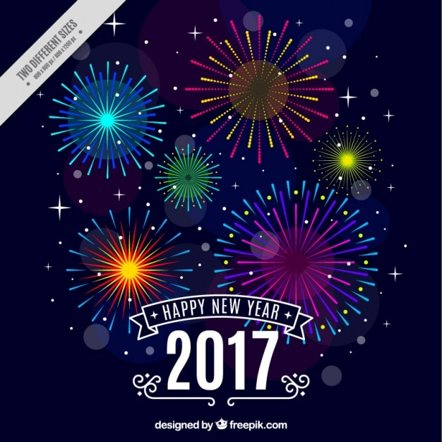 Felice anno nuovo sfondo con fuochi d'artificio colorati Vettore gratuito