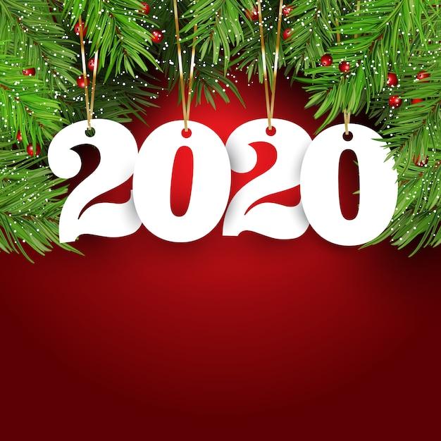 Felice anno nuovo sfondo con numeri appesi Vettore gratuito