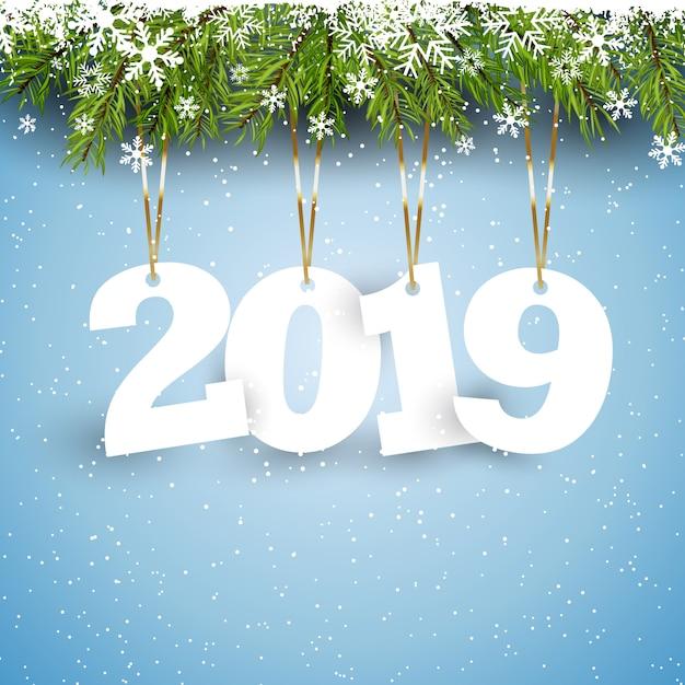 Felice anno nuovo sfondo con numeri pendenti Vettore gratuito