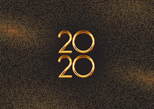 Felice anno nuovo sfondo con punti e numeri d'oro Vettore gratuito