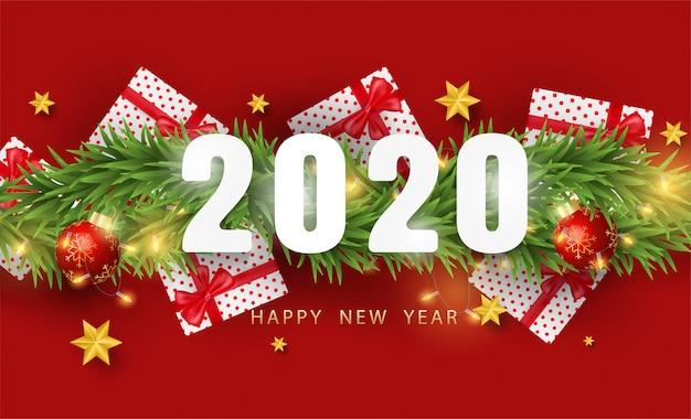 Felice anno nuovo sfondo con realistici oggetti festivi Vettore Premium