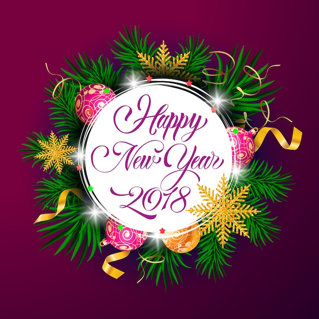 Felice anno nuovo venti diciotto anni lettering Vettore gratuito