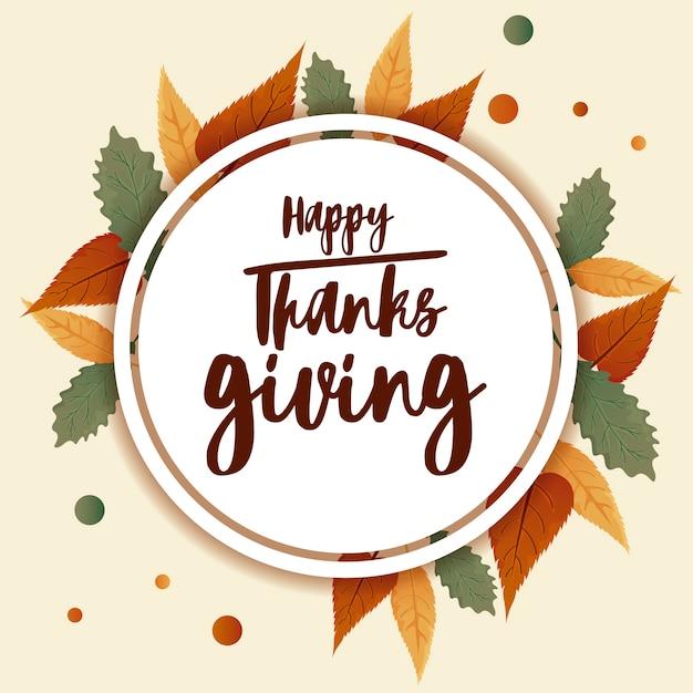 Felice auguri di ringraziamento e foglie di autunno Vettore Premium