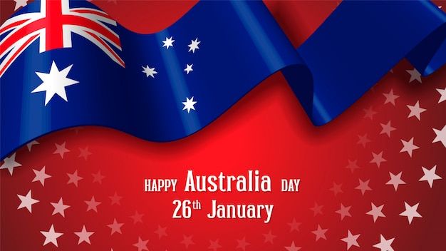 Felice australia day celebration poster o banner background Vettore Premium