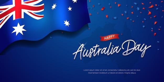 Felice australia day celebration poster o banner sfondo con bandiera Vettore Premium