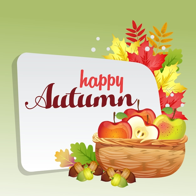 Felice autunno con cesto di mele Vettore Premium