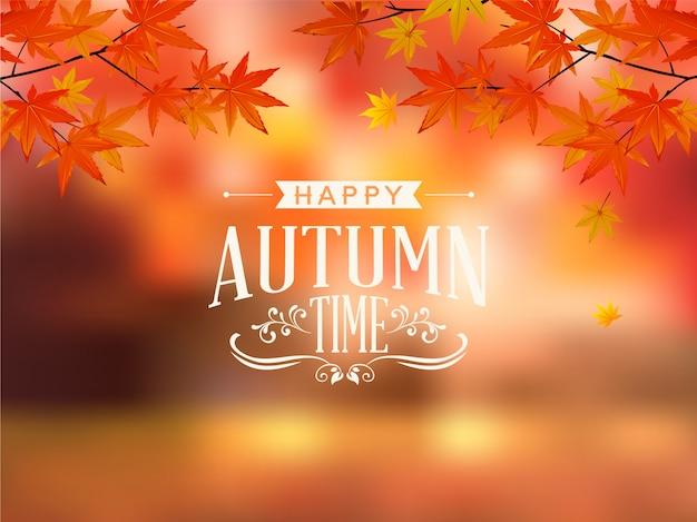 Felice autunno tipografia vettoriale Vettore Premium