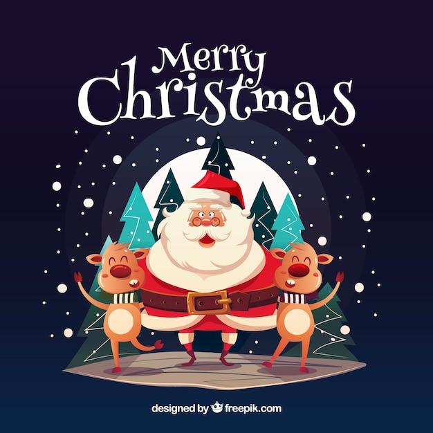 Babbo Natale Immagini Divertenti.Felice Babbo Natale Con Le Renne Divertenti Scaricare Vettori Gratis