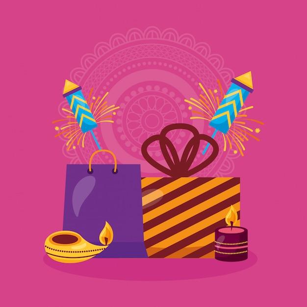 Felice carta di diwali con regali e fuochi d'artificio Vettore gratuito