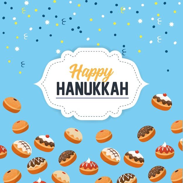 Felice celebrazione di hanukkah con pane dolce Vettore Premium
