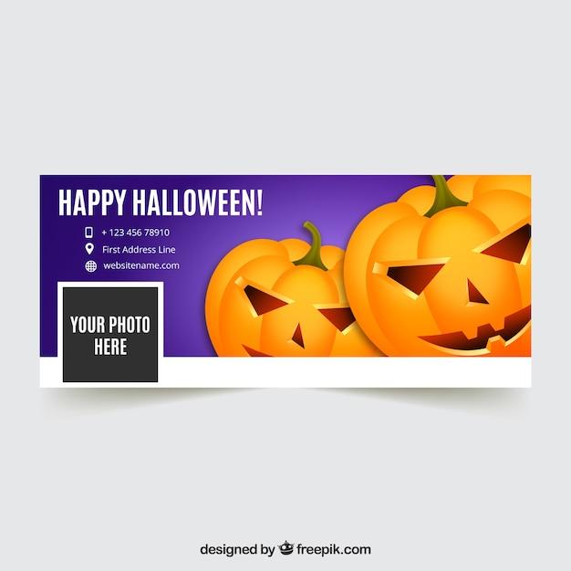 Felice copertura di Halloween con zucche Vettore gratuito