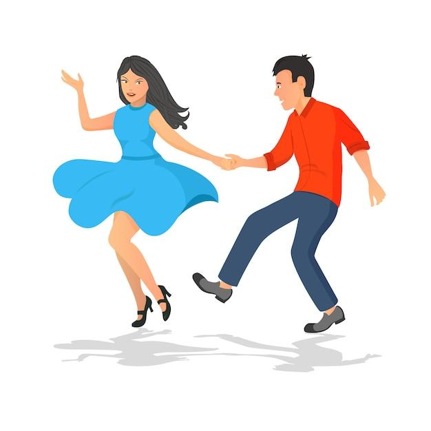 Felice coppia di ragazzo e ragazza che balla. ballo attivo musicale. Vettore Premium