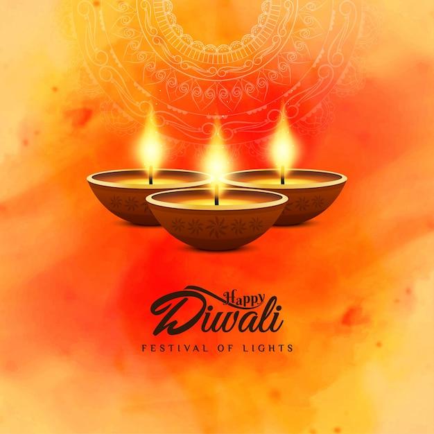 Felice diwali bellissimo sfondo acquerello religioso Vettore gratuito
