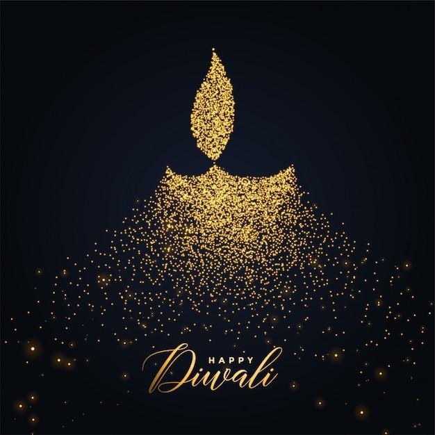 Felice diwali diya design realizzato con particelle incandescenti Vettore gratuito