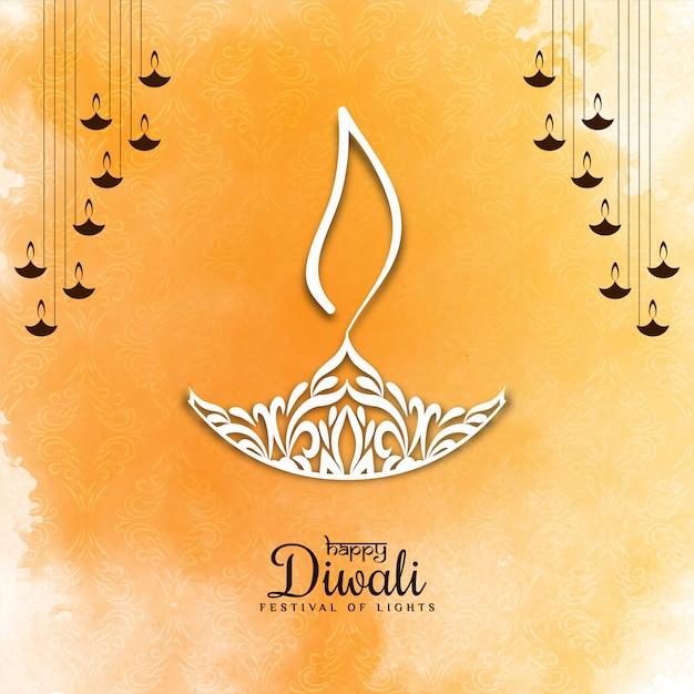 Felice diwali festival saluto morbido sfondo giallo Vettore gratuito