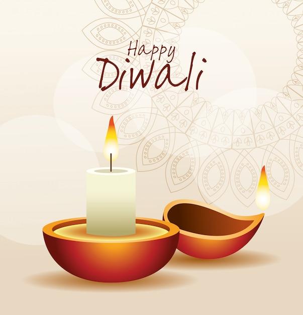 Felice diwali indian celebration design Vettore Premium