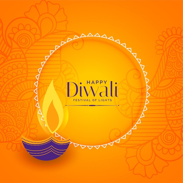 Felice diwali sfondo decorativo Vettore gratuito