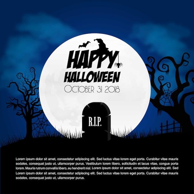 Felice elemento di design creativo di halloween con il vettore di tipografia Vettore gratuito