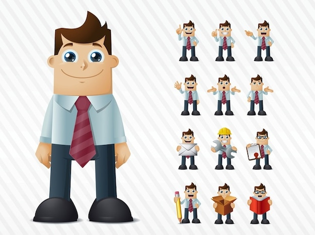 Felice espressione del viso cartone animato uomo d affari