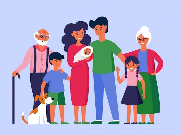 Felice famiglia enorme in piedi insieme Vettore gratuito