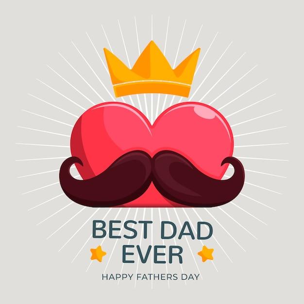 Felice festa del papà con baffi e corona Vettore gratuito