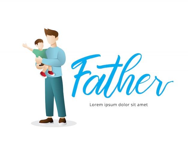 Felice festa del papà illustrazione Vettore Premium