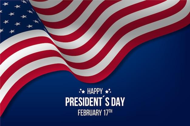 Felice festa del presidente con bandiera realistica Vettore gratuito