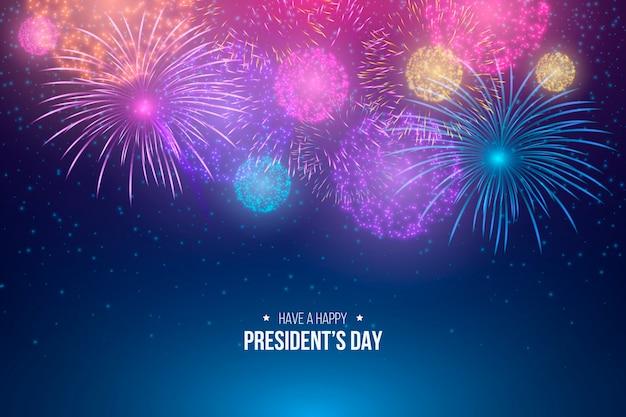 Felice festa del presidente con fuochi d'artificio colorati Vettore gratuito