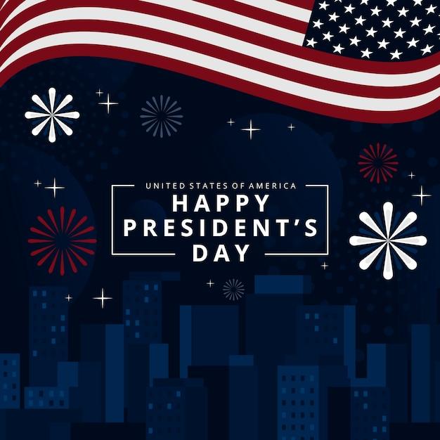 Felice festa del presidente con fuochi d'artificio e bandiera Vettore gratuito