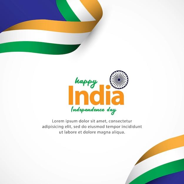 Felice festa dell'indipendenza dell'india e celebrazioni della festa della repubblica Vettore Premium