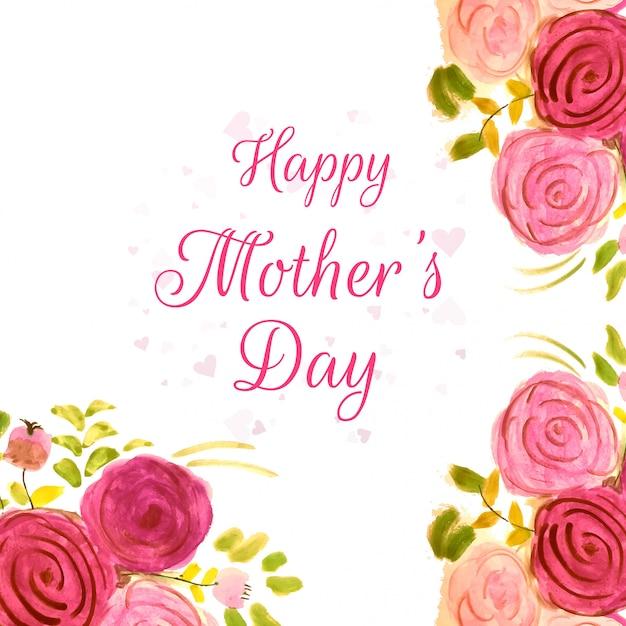 Felice festa della mamma bel design con fiori ad acquerelli Vettore gratuito