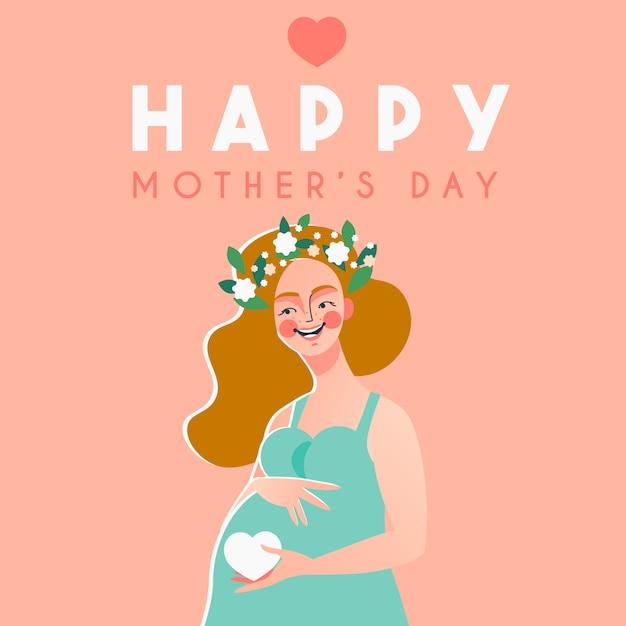 Felice festa della mamma carta con felice donna incinta Vettore Premium
