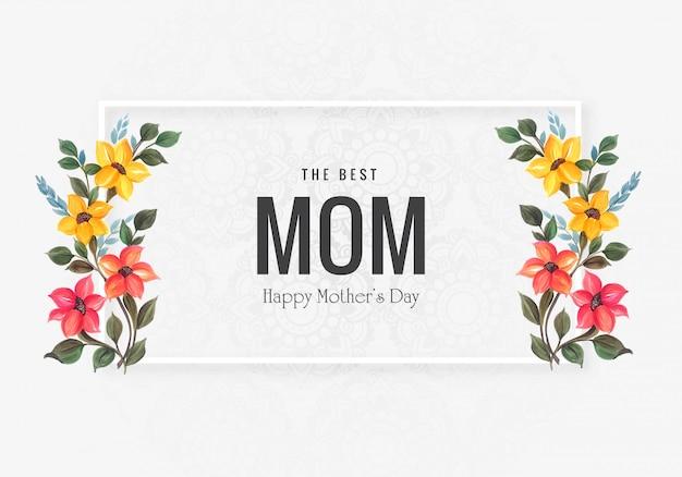 Felice festa della mamma con fiori decorativi sfondo Vettore gratuito
