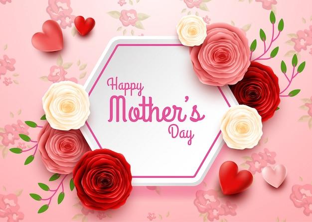 Felice festa della mamma con fiori di rosa e cuori Vettore Premium