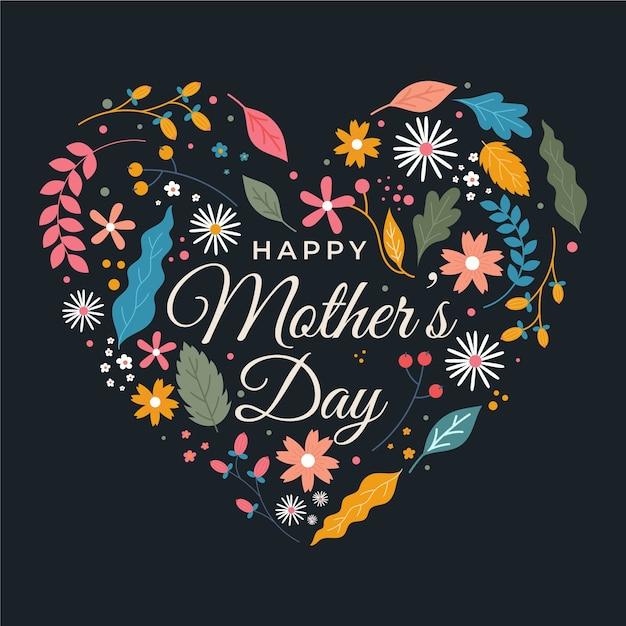 Felice festa della mamma con fiori Vettore gratuito
