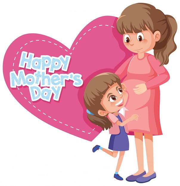 Felice festa della mamma con mamma e ragazza Vettore Premium