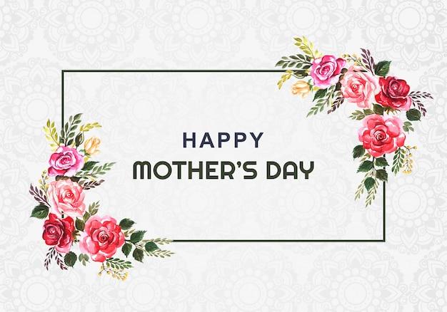 Felice festa della mamma fiore cornice di carta di sfondo Vettore gratuito