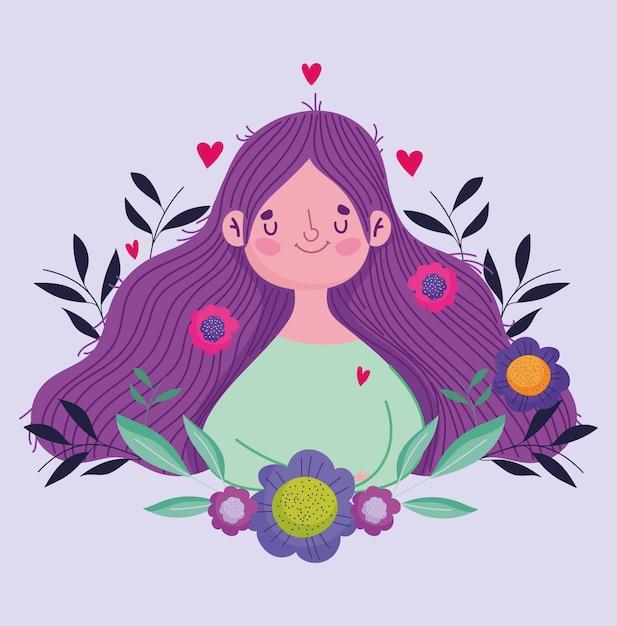 Felice festa della mamma, fiori di donna carina in biglietto di auguri celebrazione dei capelli Vettore Premium