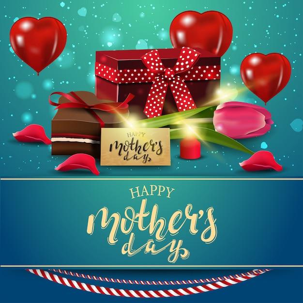 Felice festa della mamma, moderna cartolina di congratulazioni blu Vettore Premium