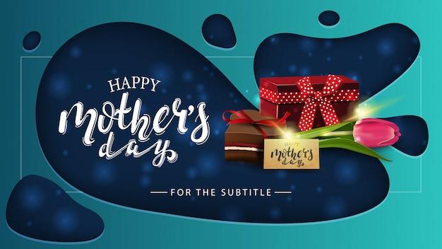 Felice festa della mamma, moderna cartolina di saluto orizzontale blu Vettore Premium
