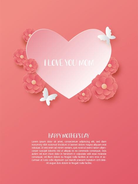 Felice festa della mamma poster a forma di cuore e fiori in carta tagliata stile. Vettore Premium