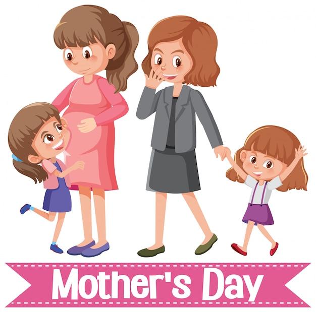 Felice festa della mamma saluto con mamme e figlie Vettore Premium
