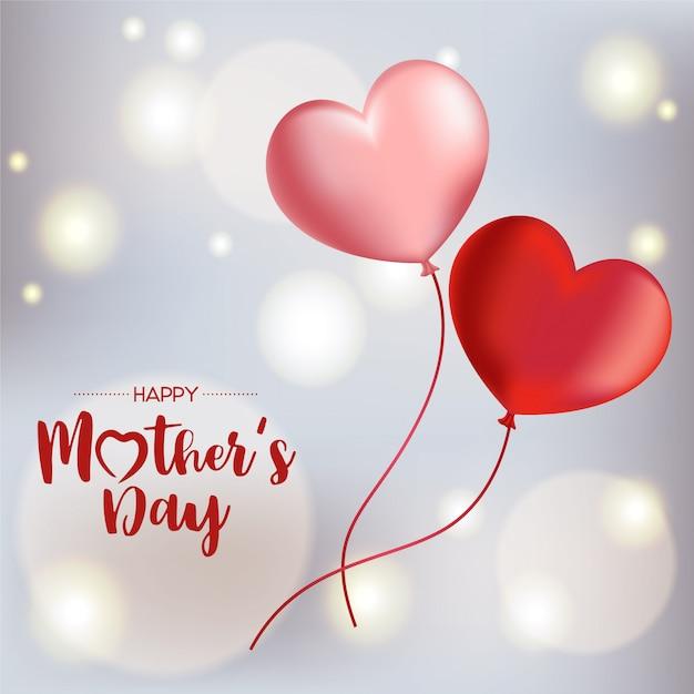 Felice festa della mamma sfondo con palloncini volanti. illustrazione vettoriale Vettore Premium