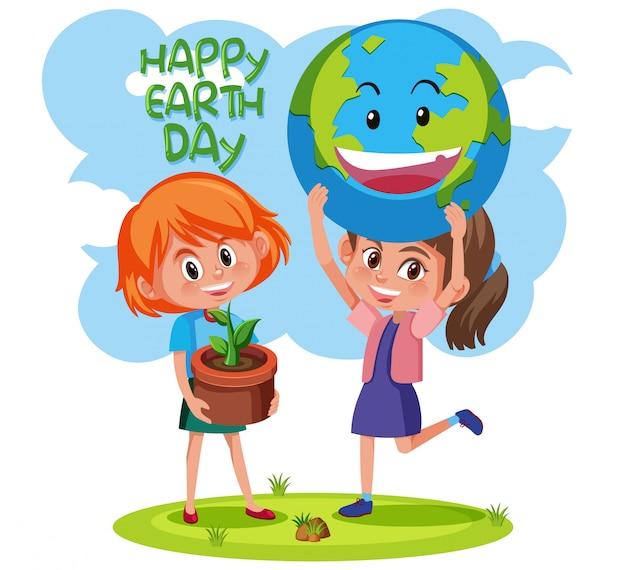 Felice giornata della terra con il concetto di ragazze Vettore Premium