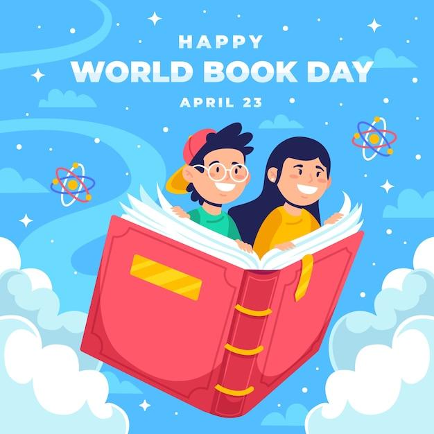Felice giornata mondiale del libro sullo sfondo Vettore gratuito