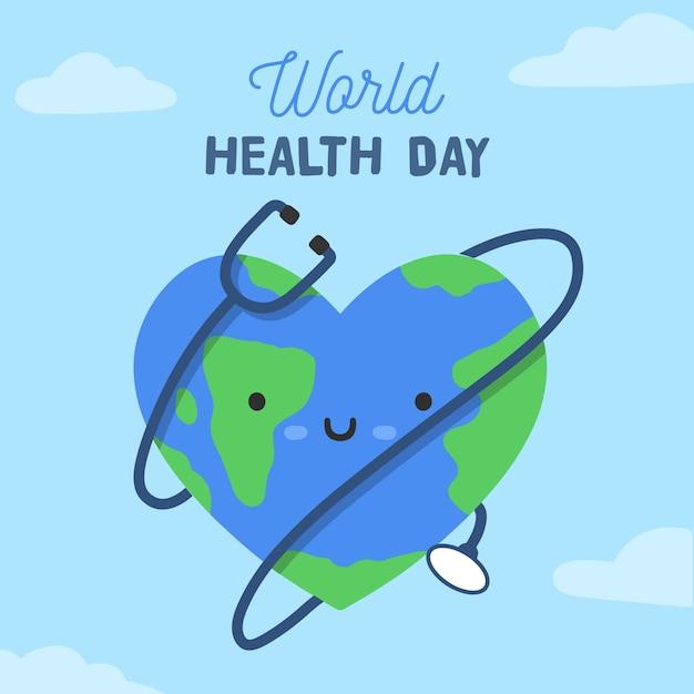 Felice giornata mondiale della salute con faccina e stetoscopio Vettore gratuito